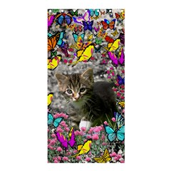 Emma In Butterflies I, Gray Tabby Kitten Shower Curtain 36  X 72  (stall)  by DianeClancy