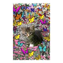 Emma In Butterflies I, Gray Tabby Kitten Shower Curtain 48  X 72  (small)  by DianeClancy