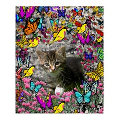 Emma In Butterflies I, Gray Tabby Kitten Shower Curtain 60  X 72  (medium)  by DianeClancy