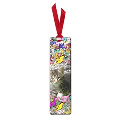 Emma In Butterflies I, Gray Tabby Kitten Small Book Marks by DianeClancy