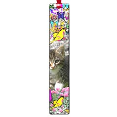 Emma In Butterflies I, Gray Tabby Kitten Large Book Marks by DianeClancy
