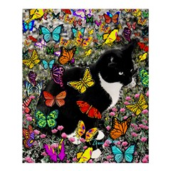 Freckles In Butterflies I, Black White Tux Cat Shower Curtain 60  X 72  (medium)  by DianeClancy