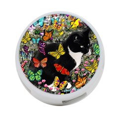 Freckles In Butterflies I, Black White Tux Cat 4 Port Usb Hub (two Sides)  by DianeClancy