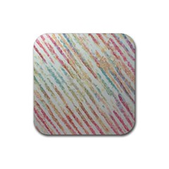 Diagonal Stripes Painting                                                               			rubber Square Coaster (4 Pack by LalyLauraFLM