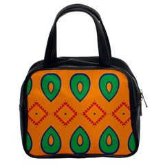 Rhombus And Leaves                                                                Classic Handbag (two Sides) by LalyLauraFLM
