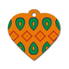 Rhombus And Leaves                                                                			dog Tag Heart (one Side) by LalyLauraFLM