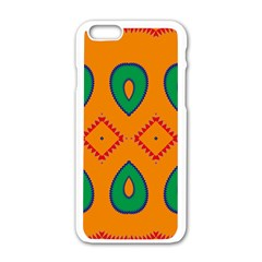 Rhombus And Leaves                                                                apple Iphone 6/6s White Enamel Case by LalyLauraFLM