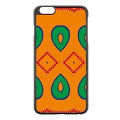 Rhombus And Leaves                                                                apple Iphone 6 Plus/6s Plus Black Enamel Case by LalyLauraFLM