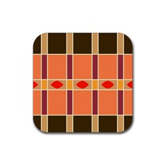 Shapes And Stripes                                                                 			rubber Square Coaster (4 Pack by LalyLauraFLM