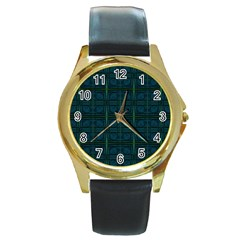 Dark Blue Teal Mod Circles Round Gold Metal Watch by BrightVibesDesign