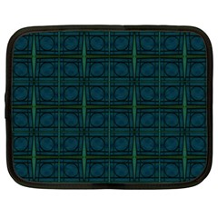 Dark Blue Teal Mod Circles Netbook Case (XL)  by BrightVibesDesign