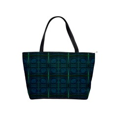 Dark Blue Teal Mod Circles Shoulder Handbags by BrightVibesDesign