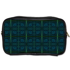 Dark Blue Teal Mod Circles Toiletries Bags by BrightVibesDesign