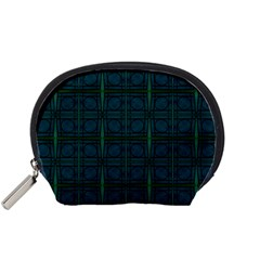 Dark Blue Teal Mod Circles Accessory Pouches (small)  by BrightVibesDesign