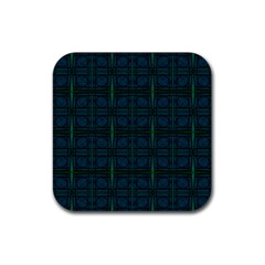 Dark Blue Teal Mod Circles Rubber Square Coaster (4 Pack)  by BrightVibesDesign