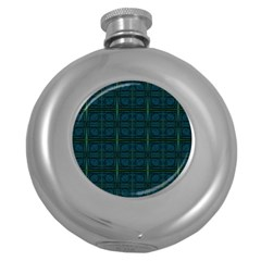 Dark Blue Teal Mod Circles Round Hip Flask (5 Oz) by BrightVibesDesign