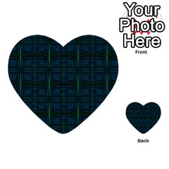 Dark Blue Teal Mod Circles Multi Purpose Cards (heart)  by BrightVibesDesign