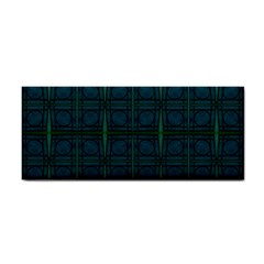 Dark Blue Teal Mod Circles Hand Towel by BrightVibesDesign