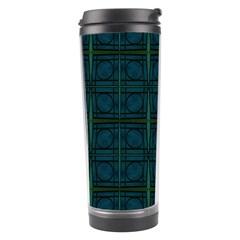 Dark Blue Teal Mod Circles Travel Tumbler by BrightVibesDesign