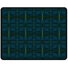 Dark Blue Teal Mod Circles Double Sided Fleece Blanket (Medium)  by BrightVibesDesign