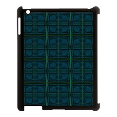 Dark Blue Teal Mod Circles Apple Ipad 3/4 Case (black) by BrightVibesDesign