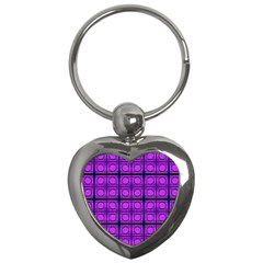 Bright Pink Mod Circles Key Chains (heart)  by BrightVibesDesign