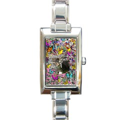 Emma In Butterflies I, Gray Tabby Kitten Rectangle Italian Charm Watch by DianeClancy