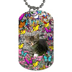 Emma In Butterflies I, Gray Tabby Kitten Dog Tag (one Side) by DianeClancy