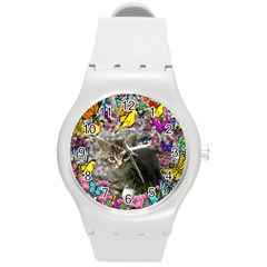 Emma In Butterflies I, Gray Tabby Kitten Round Plastic Sport Watch (m) by DianeClancy