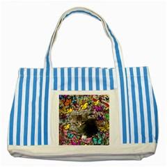 Emma In Butterflies I, Gray Tabby Kitten Striped Blue Tote Bag by DianeClancy