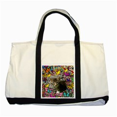 Emma In Butterflies I, Gray Tabby Kitten Two Tone Tote Bag by DianeClancy