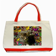 Emma In Butterflies I, Gray Tabby Kitten Classic Tote Bag (red) by DianeClancy