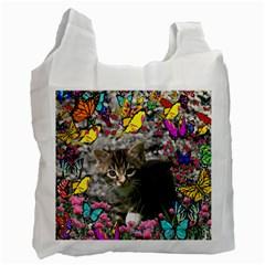 Emma In Butterflies I, Gray Tabby Kitten Recycle Bag (one Side) by DianeClancy