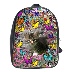 Emma In Butterflies I, Gray Tabby Kitten School Bags(large)  by DianeClancy