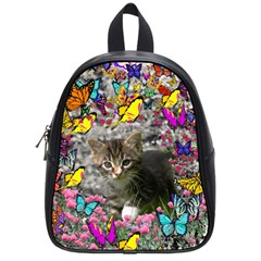 Emma In Butterflies I, Gray Tabby Kitten School Bags (small)  by DianeClancy