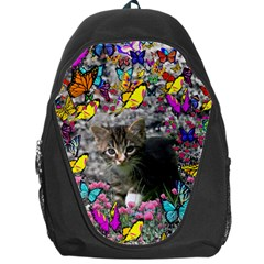 Emma In Butterflies I, Gray Tabby Kitten Backpack Bag by DianeClancy