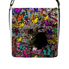 Emma In Butterflies I, Gray Tabby Kitten Flap Messenger Bag (l)  by DianeClancy