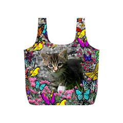 Emma In Butterflies I, Gray Tabby Kitten Full Print Recycle Bags (s)  by DianeClancy