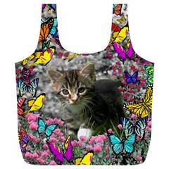 Emma In Butterflies I, Gray Tabby Kitten Full Print Recycle Bags (l)  by DianeClancy