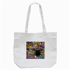 Emma In Butterflies I, Gray Tabby Kitten Tote Bag (white) by DianeClancy