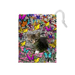 Emma In Butterflies I, Gray Tabby Kitten Drawstring Pouches (medium)  by DianeClancy