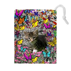 Emma In Butterflies I, Gray Tabby Kitten Drawstring Pouches (extra Large) by DianeClancy
