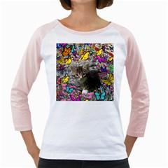Emma In Butterflies I, Gray Tabby Kitten Girly Raglans by DianeClancy