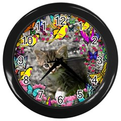 Emma In Butterflies I, Gray Tabby Kitten Wall Clocks (black) by DianeClancy