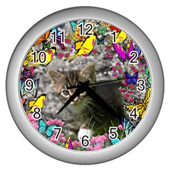 Emma In Butterflies I, Gray Tabby Kitten Wall Clocks (silver)  by DianeClancy