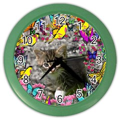 Emma In Butterflies I, Gray Tabby Kitten Color Wall Clocks by DianeClancy