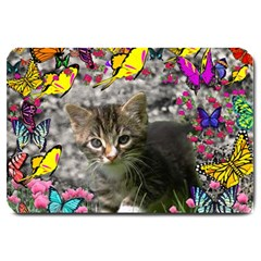 Emma In Butterflies I, Gray Tabby Kitten Large Doormat  by DianeClancy