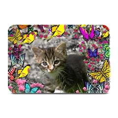 Emma In Butterflies I, Gray Tabby Kitten Plate Mats by DianeClancy