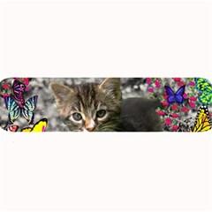 Emma In Butterflies I, Gray Tabby Kitten Large Bar Mats by DianeClancy