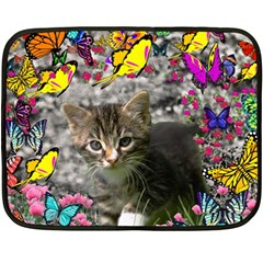 Emma In Butterflies I, Gray Tabby Kitten Fleece Blanket (mini) by DianeClancy